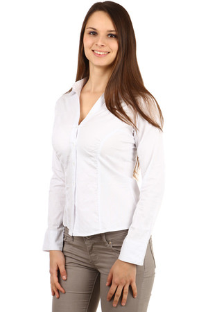 Classic ladies' elegant blouse gently folded. Fit fit slim. Up to size 44. Import: Turkey Material: 95% cotton, 5%