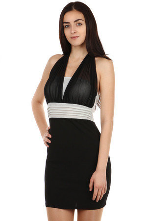 Beautiful dress with neck tie. Zippered back. Import: Italy Material: 96% polyester, 4% elastane