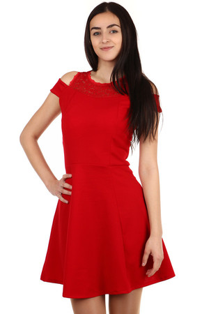 Beautiful dress with lace shoulders. Zippered at the back. Import: Italy Material: 70% polyester, 30% elastane