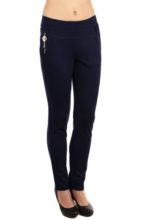 Elegant women's leggings with a front pendant. Fake pockets in the back, decorated with black stones. Belt loops and two