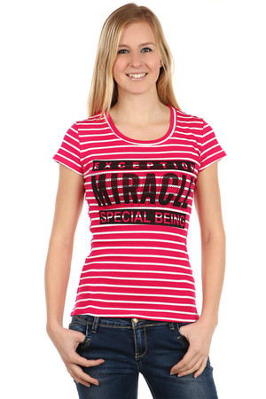 Comfortable shirt with strips, with inscription and rhinestones. Material: 95% cotton, 5% elastane