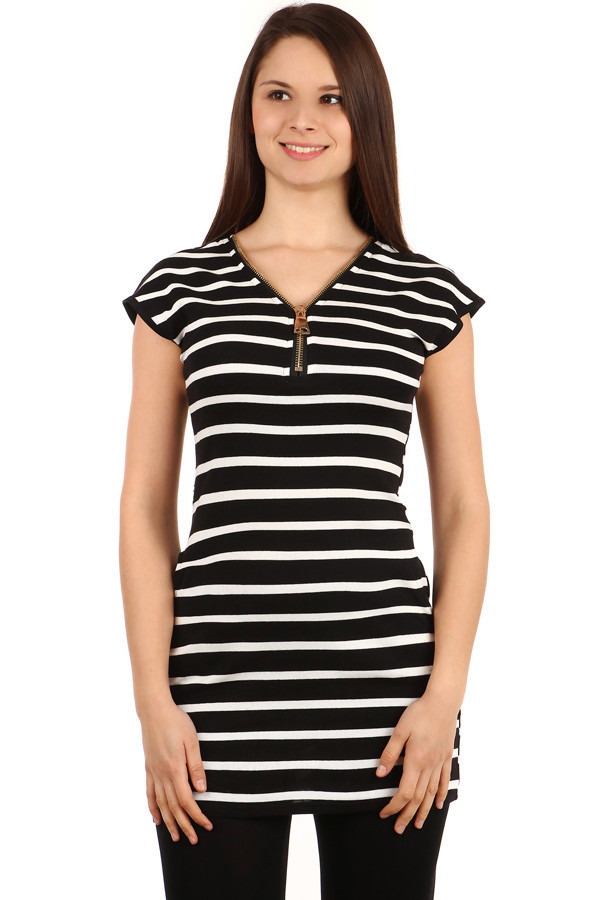 Women's Long Cotton Striped T-Shirt