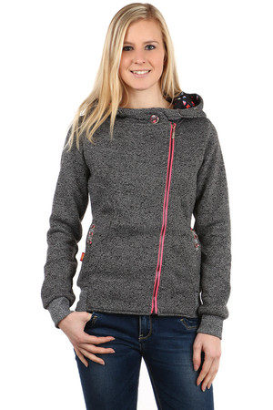 Modern sweatshirt with zipper on the side. Motif decorated with the inside of the hood and buttons at the pockets and at the