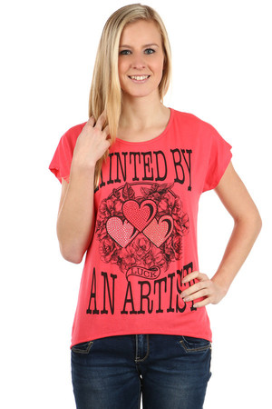 Modern t-shirt with prints and rhinestones. Rear part longer than front. Import: Italy Material: 95% cotton, 5% elastane