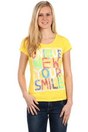 Women's T-shirt with round neck and short sleeves. On the front part is a colorful inscription that shines under the sewn