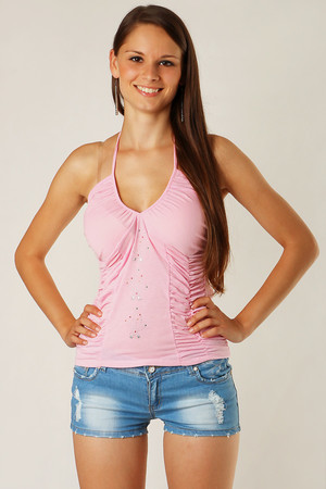 Women's monochrome tank top. A flint application on the front. Interesting draping on the sides. Neck ties. Suitable for hot