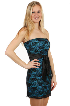 Modern sexy dress in several colors. Decorated with lace and ribbon for tying. Reinforced cups. Universal size. Import: Italy