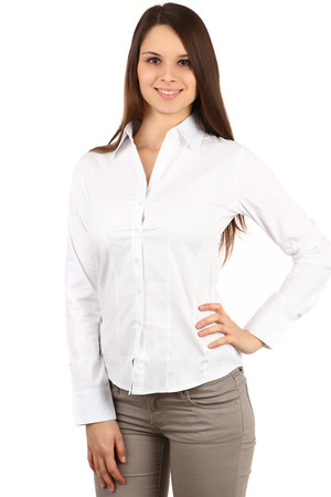 Women's white long-sleeved shirt. Button fastening. Up to size 44 - also plus size. Import: Turkey Material: 95% cotton,