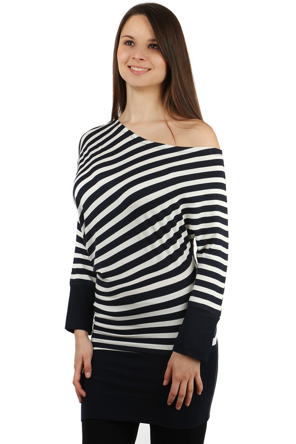 Women's striped asymmetric long sleeve t-shirt
