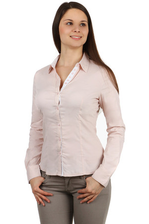 Elegant women's button shirt, with contrasting neckband, padding and inner cuffs. Import: Italy Material: 57.8% cotton,