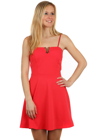 Beautiful dress with ornament in neckline. Zippered at the back. Adjustable narrow straps. Import: Italy Material: 94%