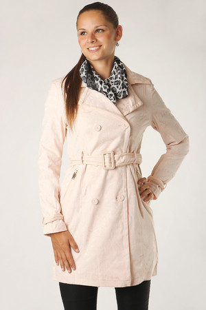 spring women's button jacket, complete with belt. Zippered pockets. The coat is made of lightweight material with a