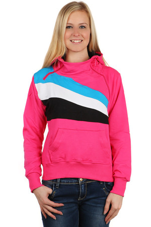 Sports women's sweatshirt with colored stripes. Asymmetric zipper. Material: 95% cotton, 5% elastane