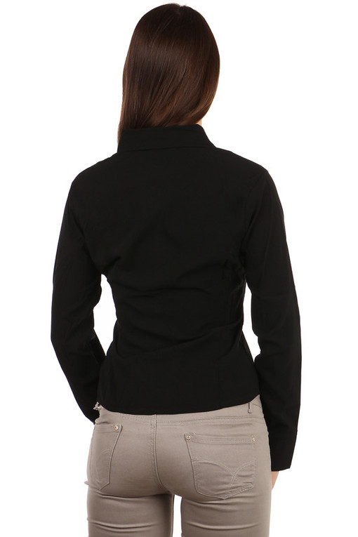 Women's Black Long Sleeve Business Shirt