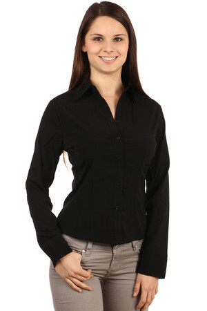 Ladies black classic blouse. Button fastening. Import: Turkey Material: 60% cotton, 35% polyester, 5% elastane