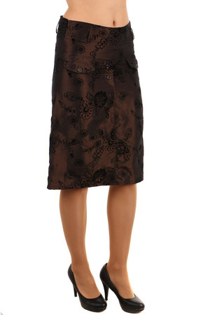 Stylish ladies elegant skirt with delicate flower pattern. Hidden zip on the side. Midi knee length. Material: 100% polyester
