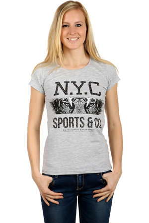 Women's Cotton T-Shirt with Round Neck. Front part with distinctive safari motif and lettering. Back part monochrome.