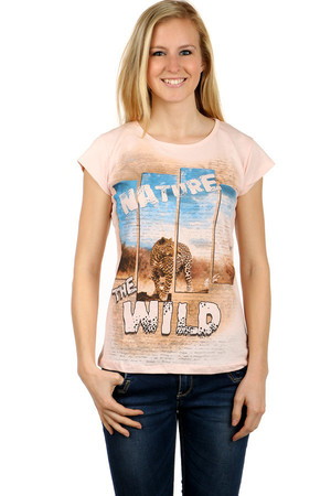 Women's cotton t-shirt. Front part with inscription and safari print. Back part monochrome. T-shirt has a round neck,