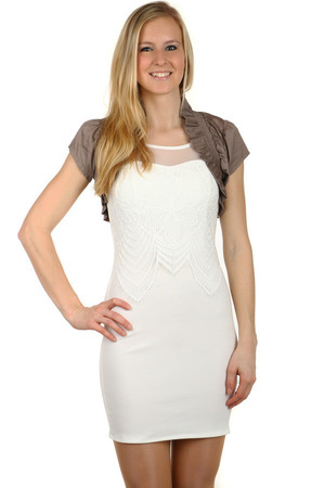 Ladies' short sleeve bolero. Drawn on collar and bottom edge. Import: Italy Material: 97% cotton, 3% elastane