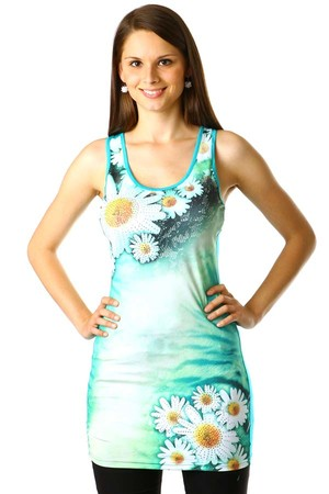 Long tank top with daisies print. The flowers are decorated with silver and gold rhinestones. Material: 95% polyester, 5%