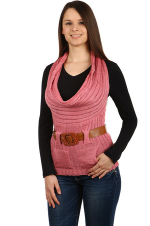 Women's stylish knitted vest with a wide collar, so-called water. Small pockets in front. Belt included. Material: 70%