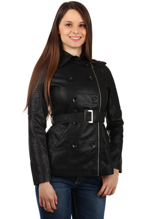 Women's leatherette jacket with zipper on the side, buttons and pockets - for a plump. Suitable for spring / autumn. Up