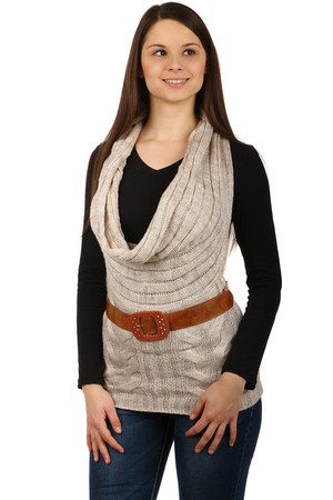 Women's knitted vest without fastening, deep neck, complete with leatherette strap. Material: 70% acrylic, 30% wool