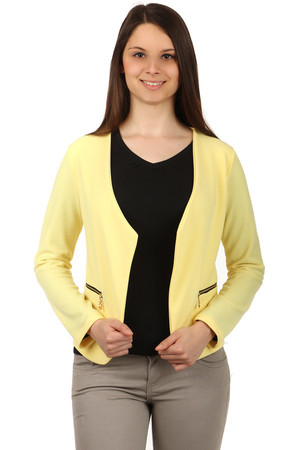 Beautiful jacket without closing and with long sleeves. Zippers for decoration. Material: 100% polyester.