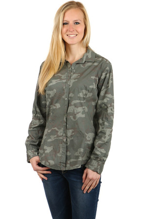Women's comfortable shirt for buttons. Sleeves can be adjusted to 3/4 length. Camouflage pattern. Import: Italy Material:
