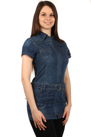 Women's denim dress. Zip fastening. Front and back pockets, waistband. Material: 95% cotton, 5% elastane