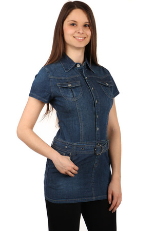Women's denim dress on buttons. Belt and pockets in front and back. Material: 95% cotton, 5% elastane