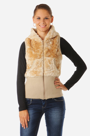 Women's fashionable vest with zip and hood. Soft, comfortable material. Wide elastic hem at the bottom of the vest. Material: