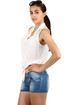 Women's short sleeveless blouse with lace