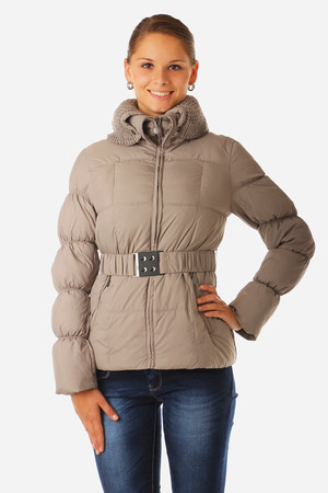 Women's quilted short jacket with elastic waistband. Suitable for winter-warm. Double collar, outer knitted part can be