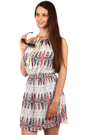 Comfortable women's summer dress. Drawstring at the top. Material: 65% cotton, 35% polyester