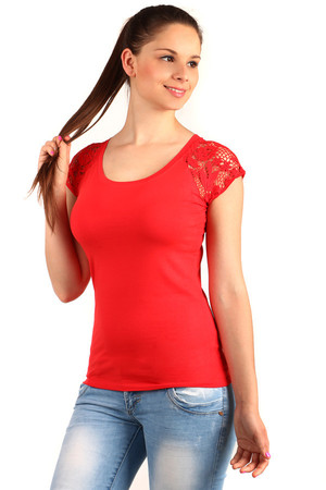 Women's Cotton Classic Shirt with Round Neck. Lace short sleeves give the shirt an interesting look. Suitable for