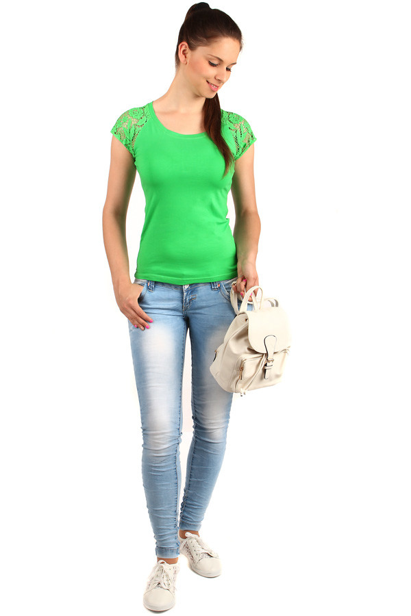 Women's t-shirt lace sleeves