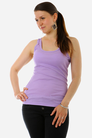 Women's monochrome tank top. The front part is made of ribbed, elastic material, the back part with cut out straps is a