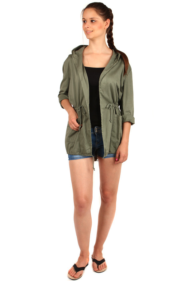 Women's sports cardigan with hood