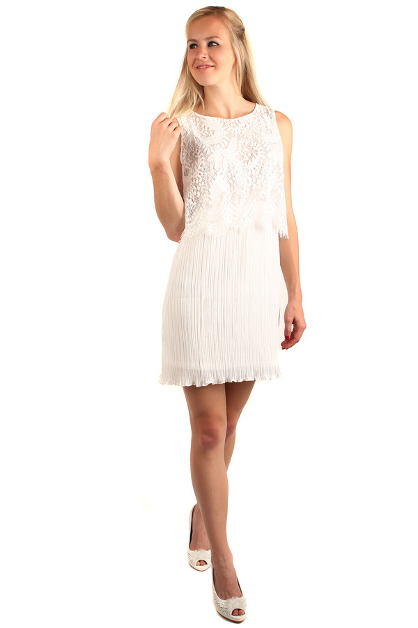 Multilayer dress with lace part