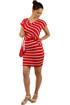 Striped dress with wrapping effect