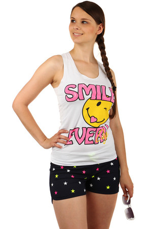 Women's merry tank top with smiley and backs. A choice of many colors. Material: 95% cotton, 5% elastane
