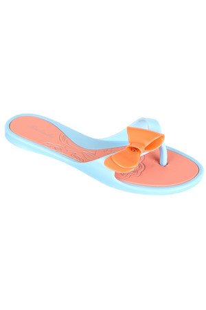 Two-color rubber flip flops with ribbon, in summer neon colors. Suitable for usage in water.
