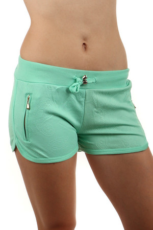 Comfortable tracksuit mini shorts with a soft pattern in pastel colors. lanyard. Material: 80% cotton, 15% polyester, 5%