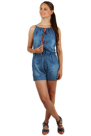 Blue ladies polka dot overall in retro style. Drawstring can be pulled over. Material: 65% cotton, 35% polyester.