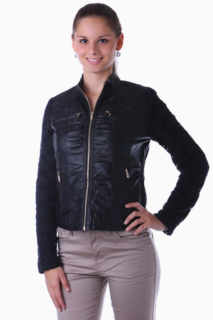 Modern women's jacket with zip fastening. The sleeve is decorated with lace. The jacket is without a low-collar hood.