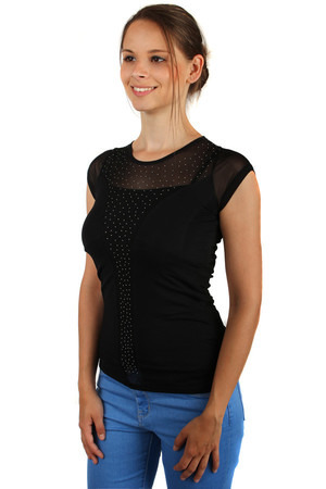 Fishnet T-shirt with rhinestones on the chest.  Material: 95% cotton, 5% elastane.