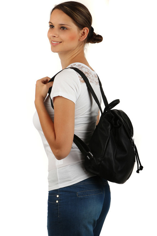 Women's spacious city backpack with a retro fastening