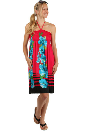 Strapless summer beach dress with floral print. Flipping on the chest. Material: 65% polyester, 35% cotton