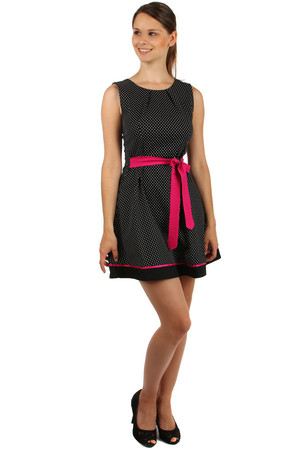 Polka dot retro dress with waistband. Pleasant cotton material. Material: 100% cotton